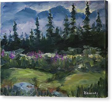 Canvas Print featuring the painting Alaskan Woods by Yulia Kazansky