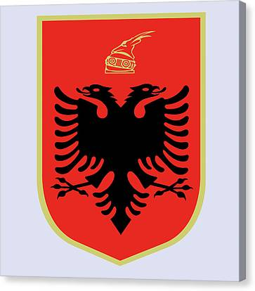 Canvas Print featuring the drawing Albania Coat Of Arms by Movie Poster Prints