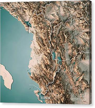 Albania Country 3d Render Topographic Map Neutral Border Canvas Print