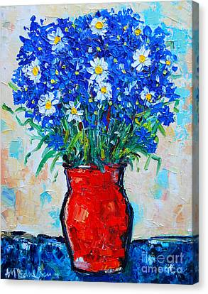 Albastrele Blue Flowers And Daisies Canvas Print by Ana Maria Edulescu