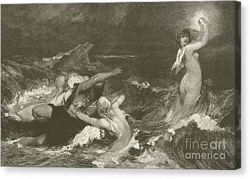 Angel Mermaids Ocean Canvas Print - Alberich's Pursuit Of The Nibelungen Ring by Hans Makart