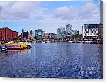 Four Strawberries Canvas Print - Albert Dock From The River Mersey by Doc Braham
