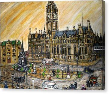 Albert Square Manchester 1900 Canvas Print