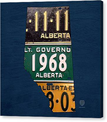 Alberta Canada Province Map Made From Recycled Vintage License Plates Canvas Print by Design Turnpike