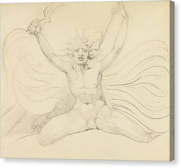 Blake Canvas Print - Albion Compelling The Four Zoas To Their Proper Tasks by William Blake