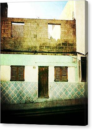 Canvas Print featuring the photograph Alcala Blue House No1 by Anne Kotan