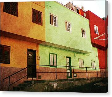 Canvas Print featuring the photograph Alcala Orange Green Red Houses by Anne Kotan