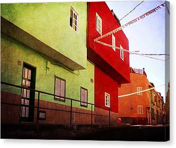 Canvas Print featuring the photograph Alcala Red And Green Street by Anne Kotan