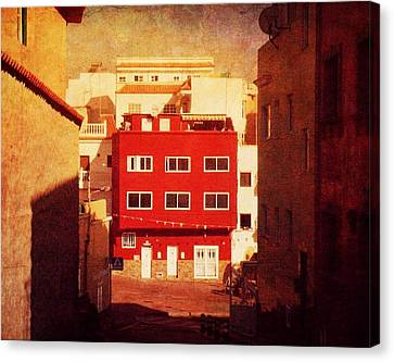 Canvas Print featuring the photograph Alcala Red House No1 by Anne Kotan