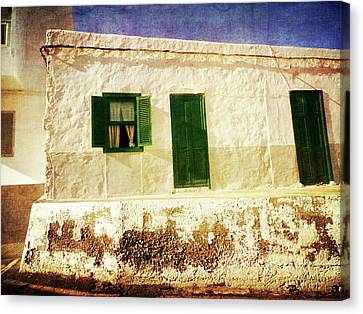 Canvas Print featuring the photograph Alcala White And Green House by Anne Kotan