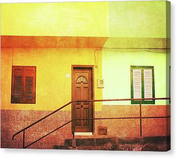 Canvas Print featuring the photograph Alcala Yellow Green Houses by Anne Kotan