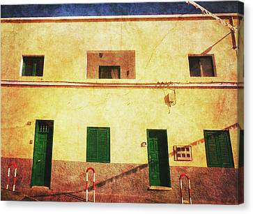 Canvas Print featuring the photograph Alcala Yellow House With Green Doors by Anne Kotan