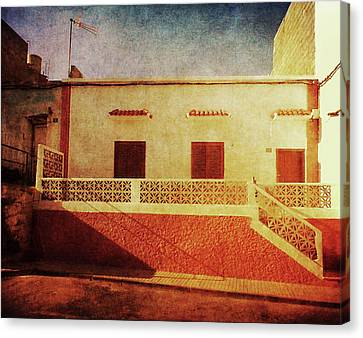 Canvas Print featuring the photograph Alcala Yellow Red House by Anne Kotan