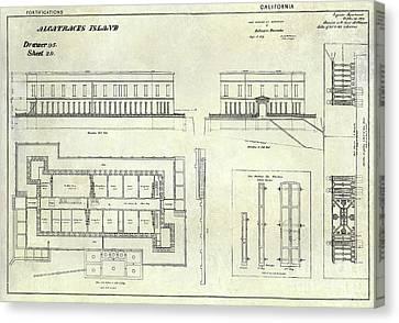 Alcatraz Defensive Barracks Drawing 1859 Canvas Print