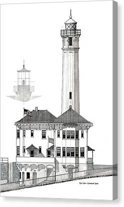 Alcatraz Island Lighthouses - Black And White Canvas Print