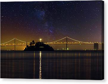 Alcatraz Island Under The Starry Night Sky Canvas Print by David Gn