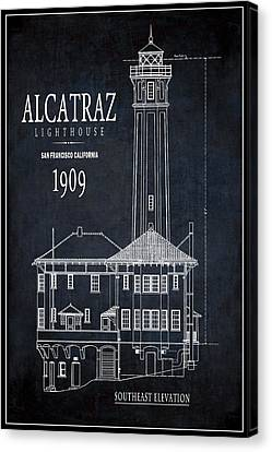 Alcatraz Lighthouse 1909 Blueprint Minimal Canvas Print by Daniel Hagerman
