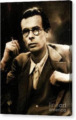 Aldous Huxley, Literary Legend By Mary Bassett Canvas Print by Mary Bassett