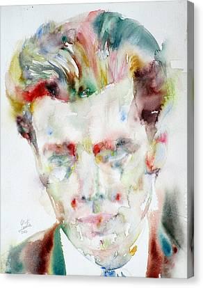 Aldous Huxley - Watercolor Portrait.3 Canvas Print by Fabrizio Cassetta