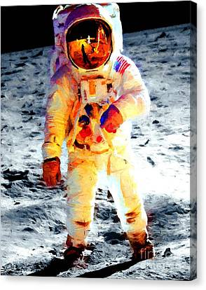 Aldrin Walks On The Surface Of The Moon During Apollo 11 / Art Prints For Sale Canvas Print by Art Gallery