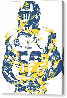 Cities Canvas Print - Alec Ogletree Los Angeles Rams Pixel Art 2 by Joe Hamilton