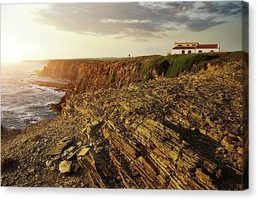 Canvas Print featuring the photograph Alentejo Cliffs by Carlos Caetano