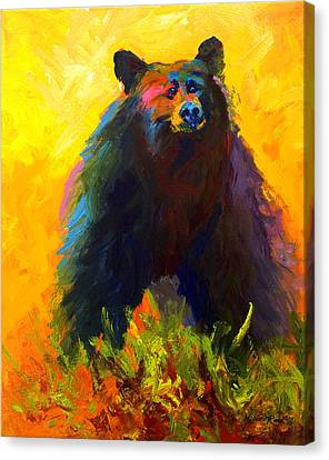 Alert - Black Bear Canvas Print by Marion Rose