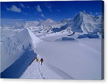 Alex Lowe On Mount Bearskin 2850 M Canvas Print by Gordon Wiltsie