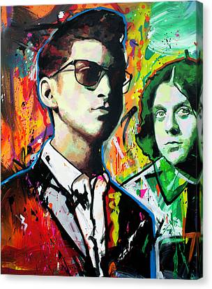 Canvas Print featuring the painting Alex Turner by Richard Day