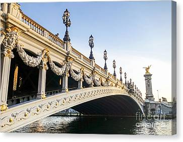 Alexandre IIi Bridge In Paris France Early Morning Canvas Print by Perry Van Munster