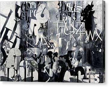 Alfabeto Bianco Nero Canvas Print by Guido Borelli