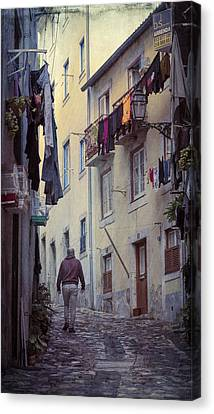 Laundry Canvas Print - Alfama Life Lisbon Portugal by Joan Carroll