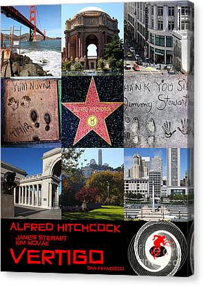 Alfred Hitchcock Jimmy Stewart Kim Novak Vertigo San Francisco 20150608 Text Black Canvas Print by Wingsdomain Art and Photography