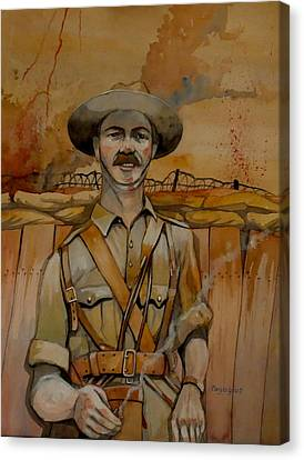 Canvas Print featuring the painting Alfred Shout Vc by Ray Agius