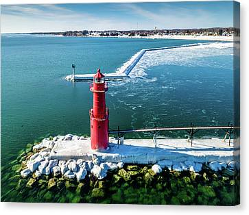 Canvas Print featuring the photograph Algoma Pierhead Light by Randy Scherkenbach