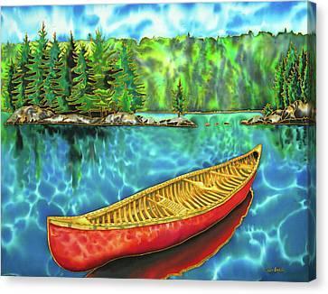 Algonquin Park Canada - Red Canoe Canvas Print by Daniel Jean-Baptiste