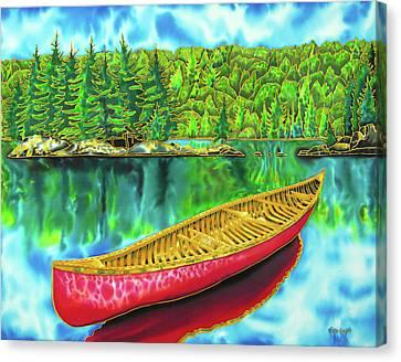 Algonquin Park - Red Canoe Canvas Print by Daniel Jean-Baptiste