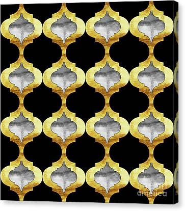 Alhambra, Glam Arbesque Quatrefoil Gold And Silver Pattern Canvas Print by Tina Lavoie