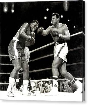 Canvas Print featuring the drawing Ali Vs. Frazier 3 by Noe Peralez