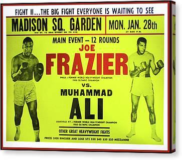 Ali Vs Frazier Boxing Poster Canvas Print by Bill Cannon