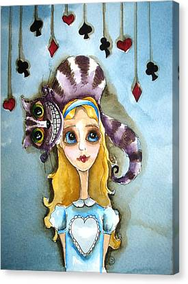 Cheshire Cat Canvas Print - Alice And Cheshire Cat by Lucia Stewart
