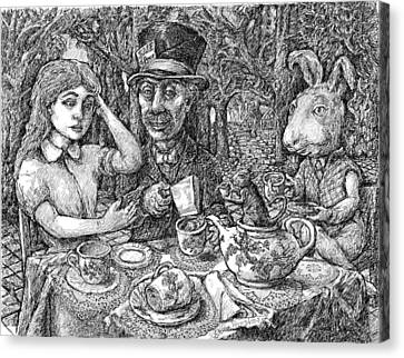 Alice And The Mad Hatter Canvas Print by Steve Breslow