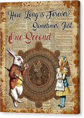 Alice And White Rabbit Vintage Dictionary Art Quote Canvas Print