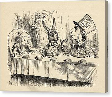 Alice At The Mad Hatter S Tea Party Canvas Print