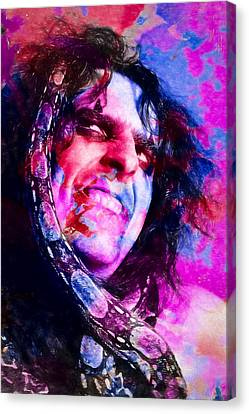 Alice Cooper And Snake Canvas Print by Vivian Frerichs