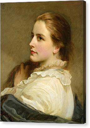 Woman Combing Her Hair Canvas Print - Alice by Henry Tanworth Wells