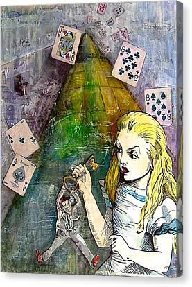 Alice In Bankland Canvas Print by Christine Rossi