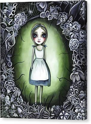 Skull In Rose Canvas Print - Alice In The Deadly Garden by Jaz Higgins