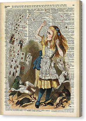 Alice In The Wonderland On A Vintage Dictionary Book Page Canvas Print by Jacob Kuch