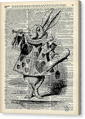 Alice In The Wonderland The Whitte Rabbit Canvas Print by Jacob Kuch